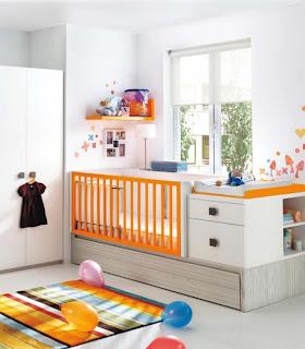 dormitorio de bebé naranja