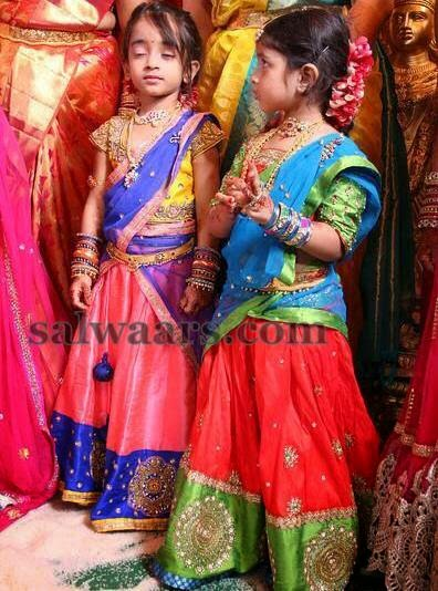 cute kids in lovely half sarees indian dresses