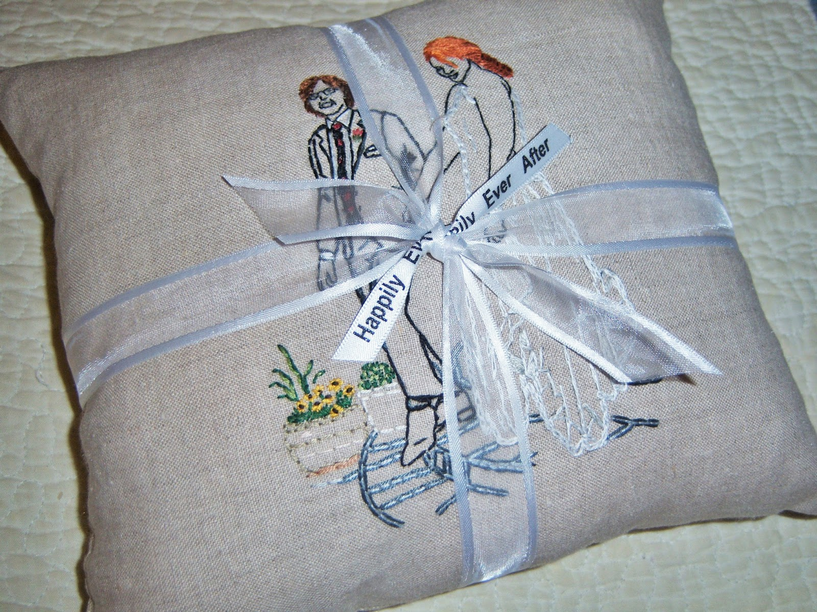 I Can Embroidered Pillows Using Wedding Or Engagement Photos