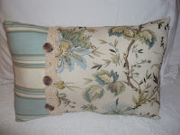 two fabric pillow with vintage lace