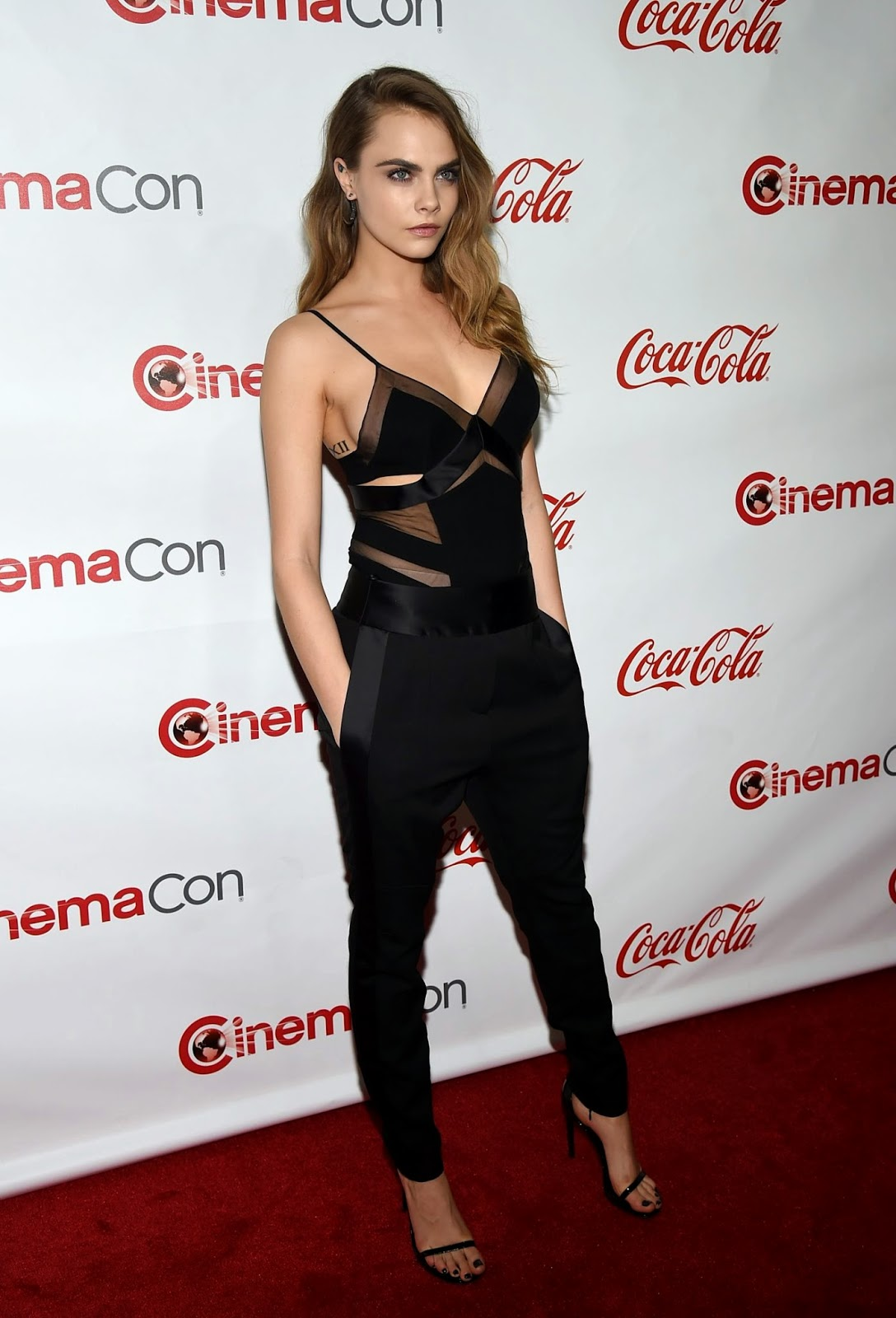 Cara Delevingne in a sheer chemise at the CinemaCon Big Screen Achievement Awards in Las Vegas
