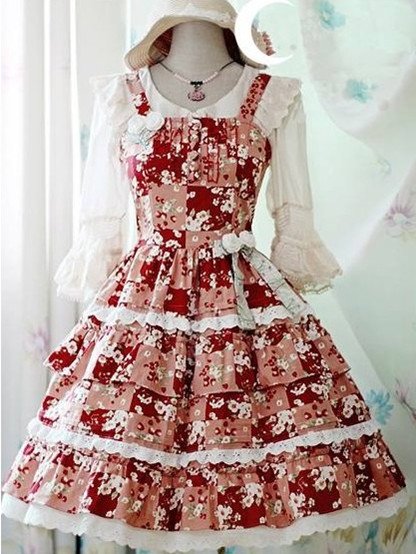 fashion floral sweet-cherry-printed-rococo-lolita-dress