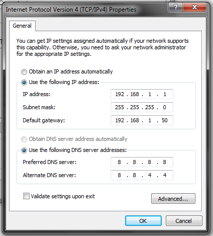 Setting IP Address