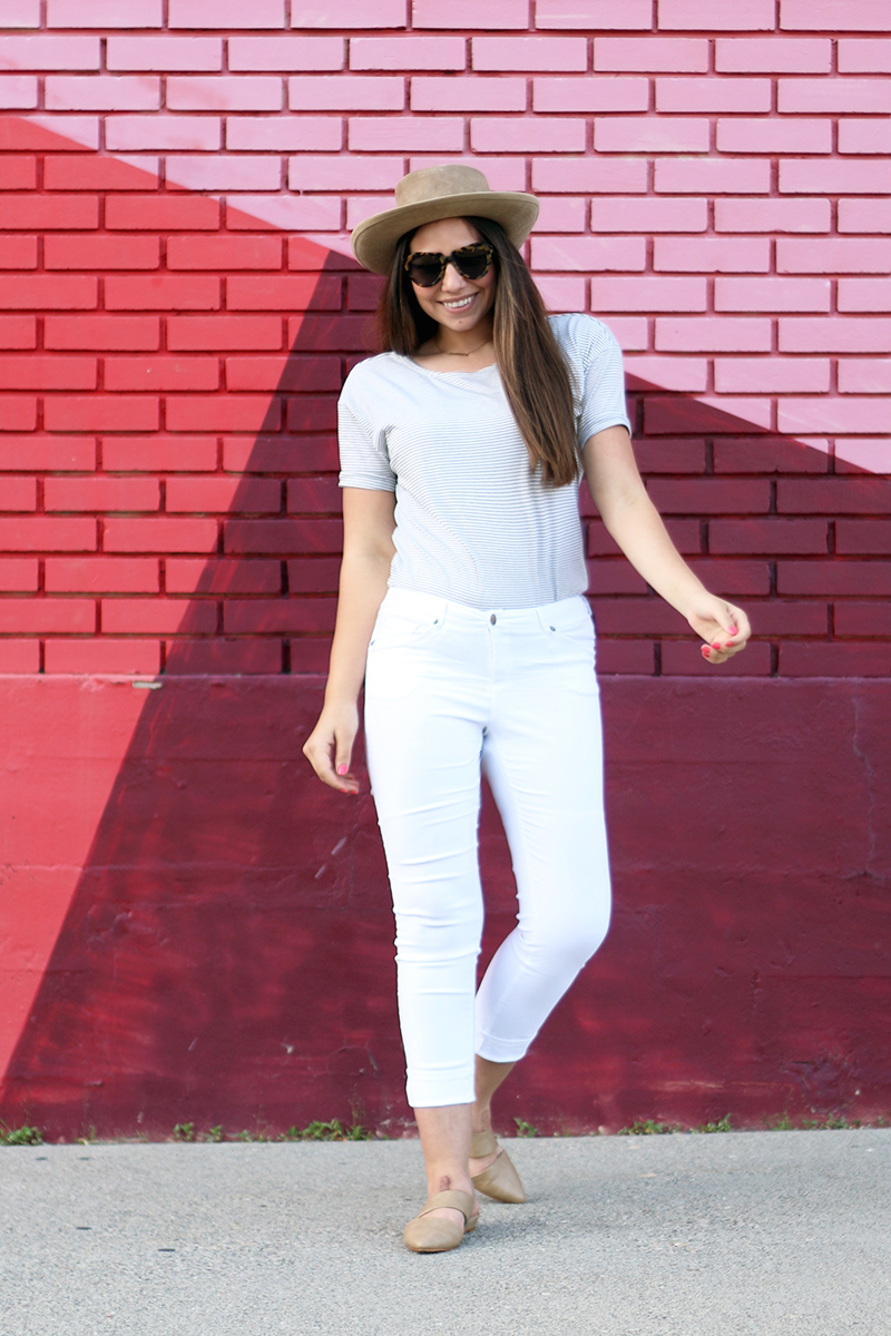 striped tee and white pants with hat