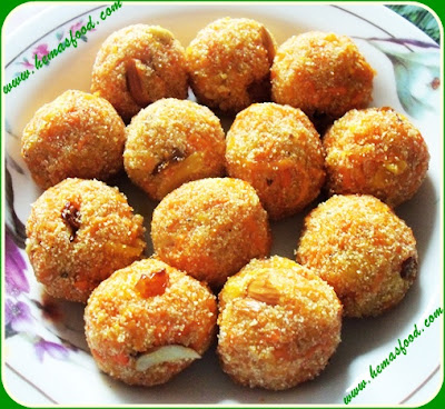 Carrot Semolina Laddu - Carrot Ravva Laddu