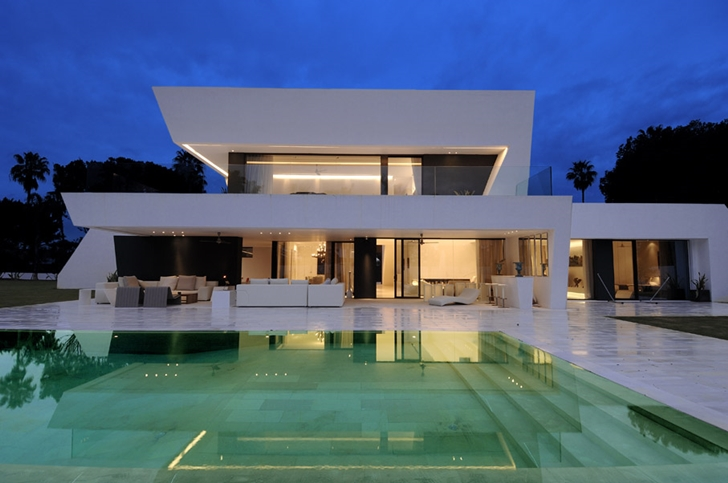 Amazing Sotogrande House by A-Cero Architects with swimming pool at night