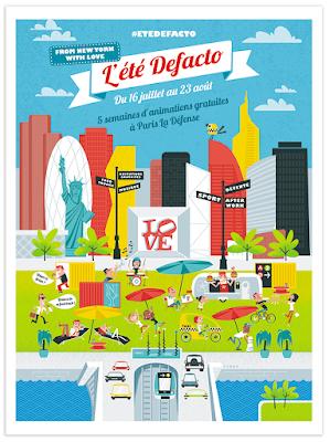 Clod illustrations Paris La Défense, été Defacto 2015