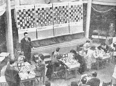 Sala de juego del Torneo Internacional de Ajedrez Femenino Barcelona 1949