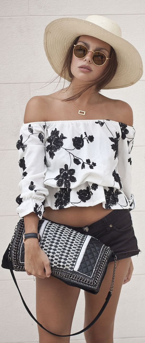 White Off Shoulder Black Floral Crop Top