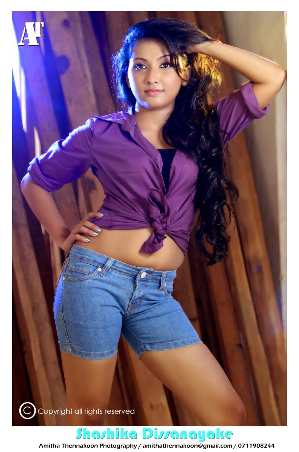 Shashika Dissanayake denim shorts