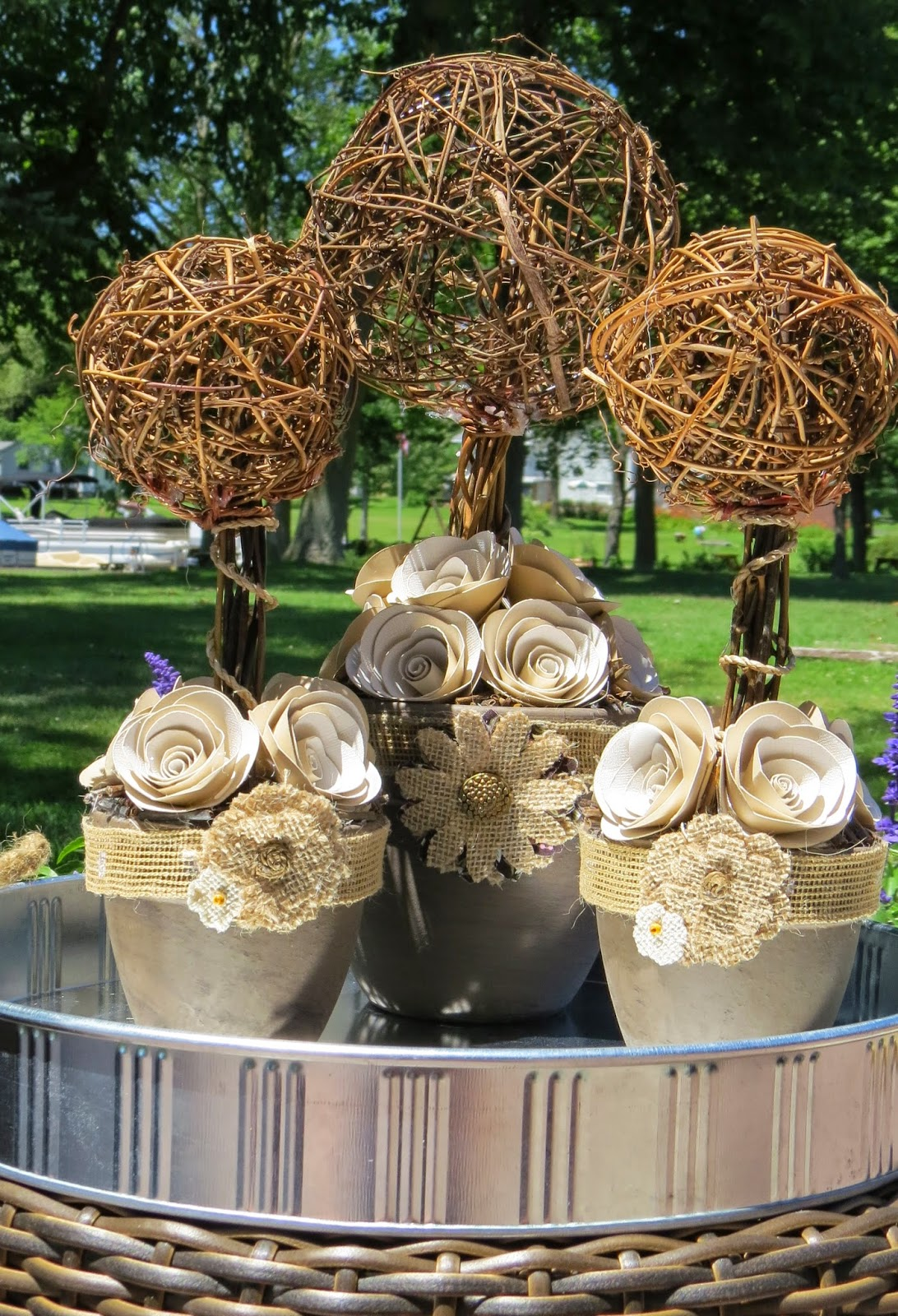Three Topiary, Wood, Paper Roses, Burlap, Twigs, Tray, Handmade