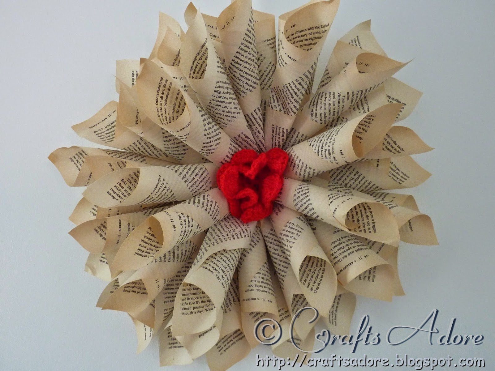Christmas Wreath from Book Pages