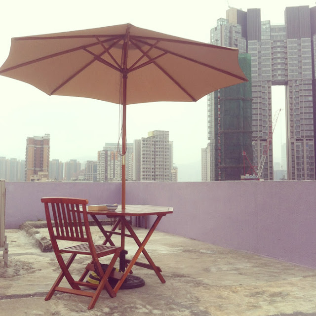 HK lavender rooftop patio furniture  high rise, hi-rise