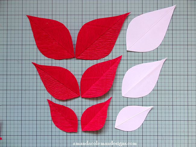 DIY Crepe Paper Poinsettia.  Mitered crepe paper leaves tutorial.