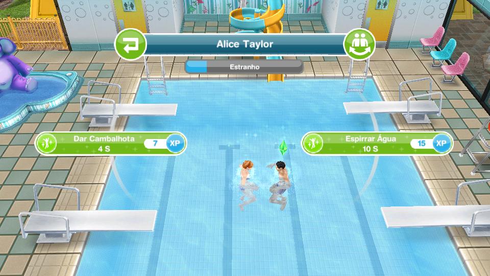 The sims freeplay nadando de bra ada espirre gua em um for Piscina sims 4