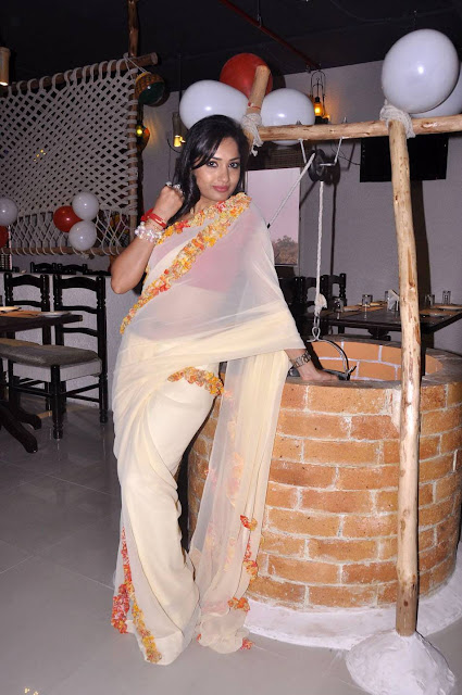 Actress Madhavi Latha Transparent Saree Photos