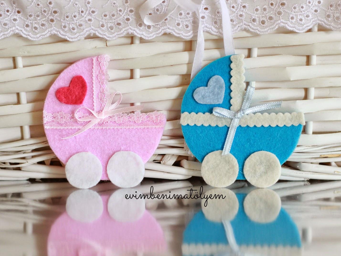 keçe bebek arabası, keçe magnet, keçe bebek şekeri