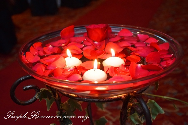 Red Black Lace Wedding Decoration at Renaissance Hotel Kuala Lumpur, petals, floating candle, walkway, aisle, flower stand, floral, red roses, ballroom, selangor, malaysia, elegant, vibrant, special, unique, wedding day