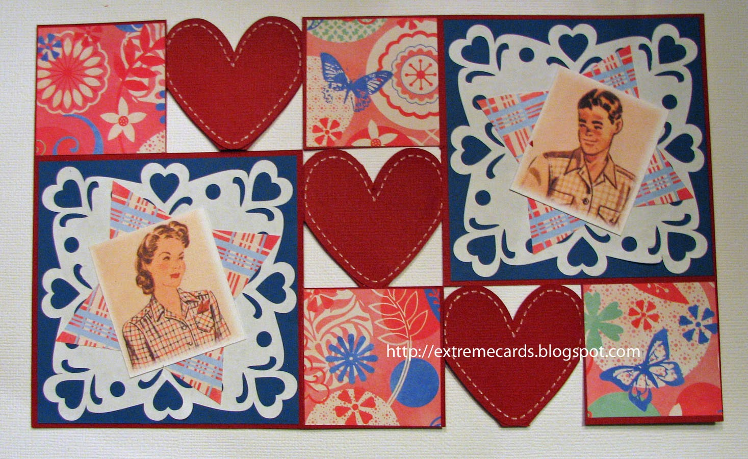 Heart step card flattened