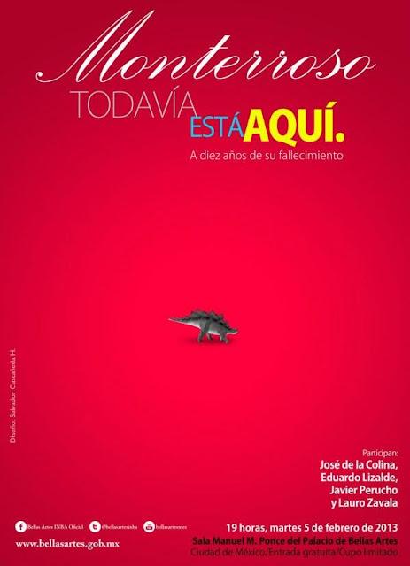 Charla en homenaje a Augusto Monterroso en el Palacio de Bellas Artes