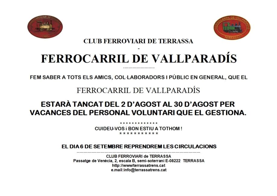 Avís F.C. de Vallparadís. Tancament per vacances