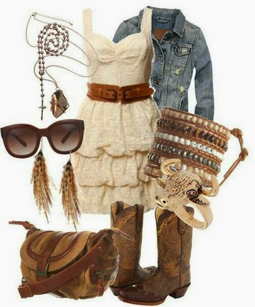 Denim jacket, cream colour dress, cowboy boots and handbag for fall