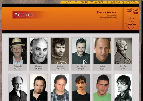 página web de Pacosanjose.com: representación artística de actores y actrices
