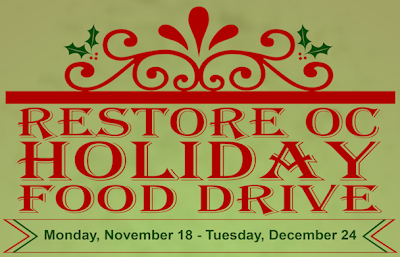 ReStore OC Holiday Food Drive - Monday, November 18th at 9am through to Tuesday, December 24th at 5pm