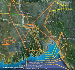 Tours Route of Bangladesh