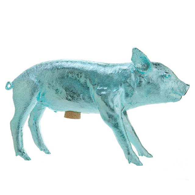 Bank in form of Pig Harry Allen chrome metallic piggy bank light blue pale home decor accessory