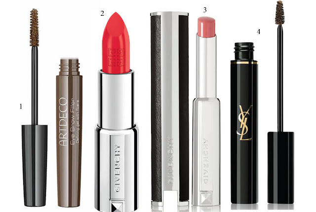 Eye Brow Filler, Artdeco; Le Rouge-A-Porter, Givenchy; Couture Brow, Yves Saint Laurent