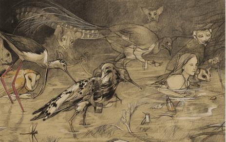 El reflejo del tiempo de Pablo Echevarría - Ilustración del Museo Nacional de Ciencias Naturales