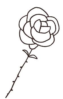 白バラのイラスト 線画