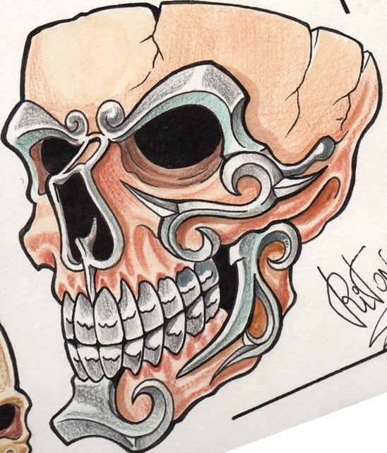 Ideas para tu tattoo: Calavera con detalles de metal