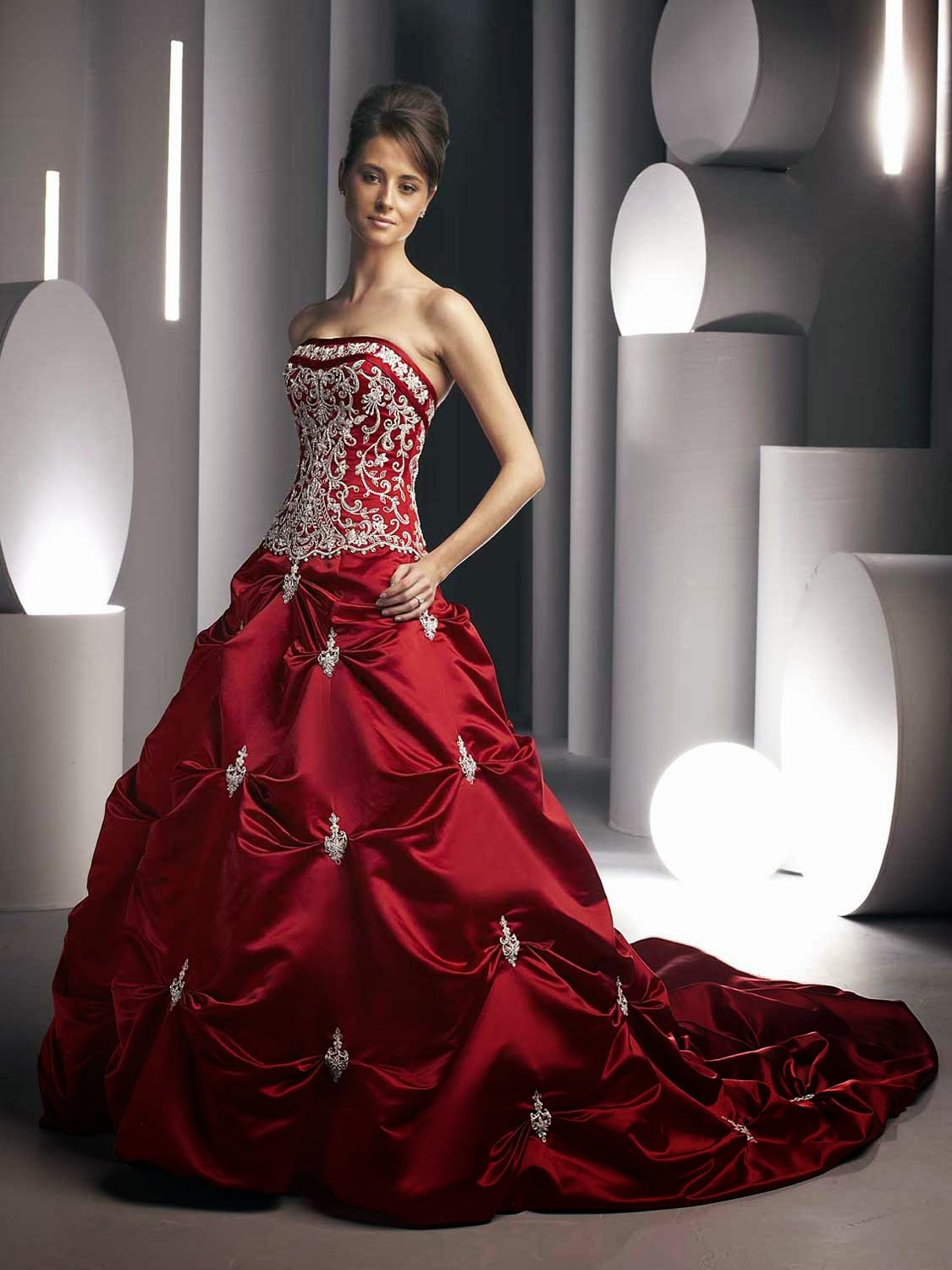 Red Wedding Dresses with Bling Photos HD Design Ideas