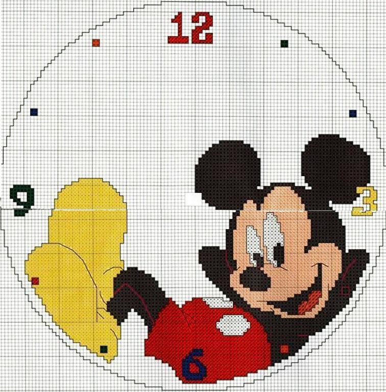 Mickey mouse punto cruz - Manualidades relojes infantiles ...