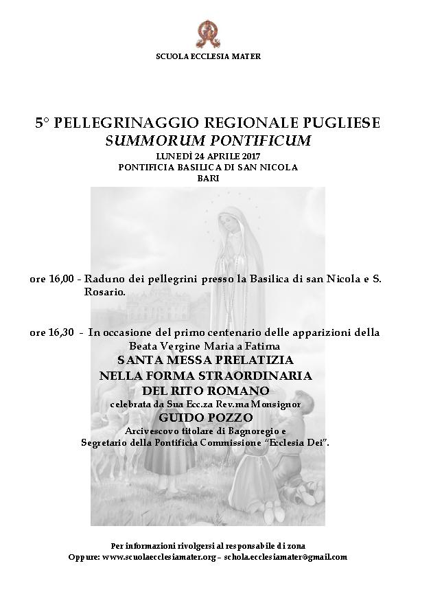 """V Pellegrinaggio regionale pugliese """"Summorum Pontificum"""""""