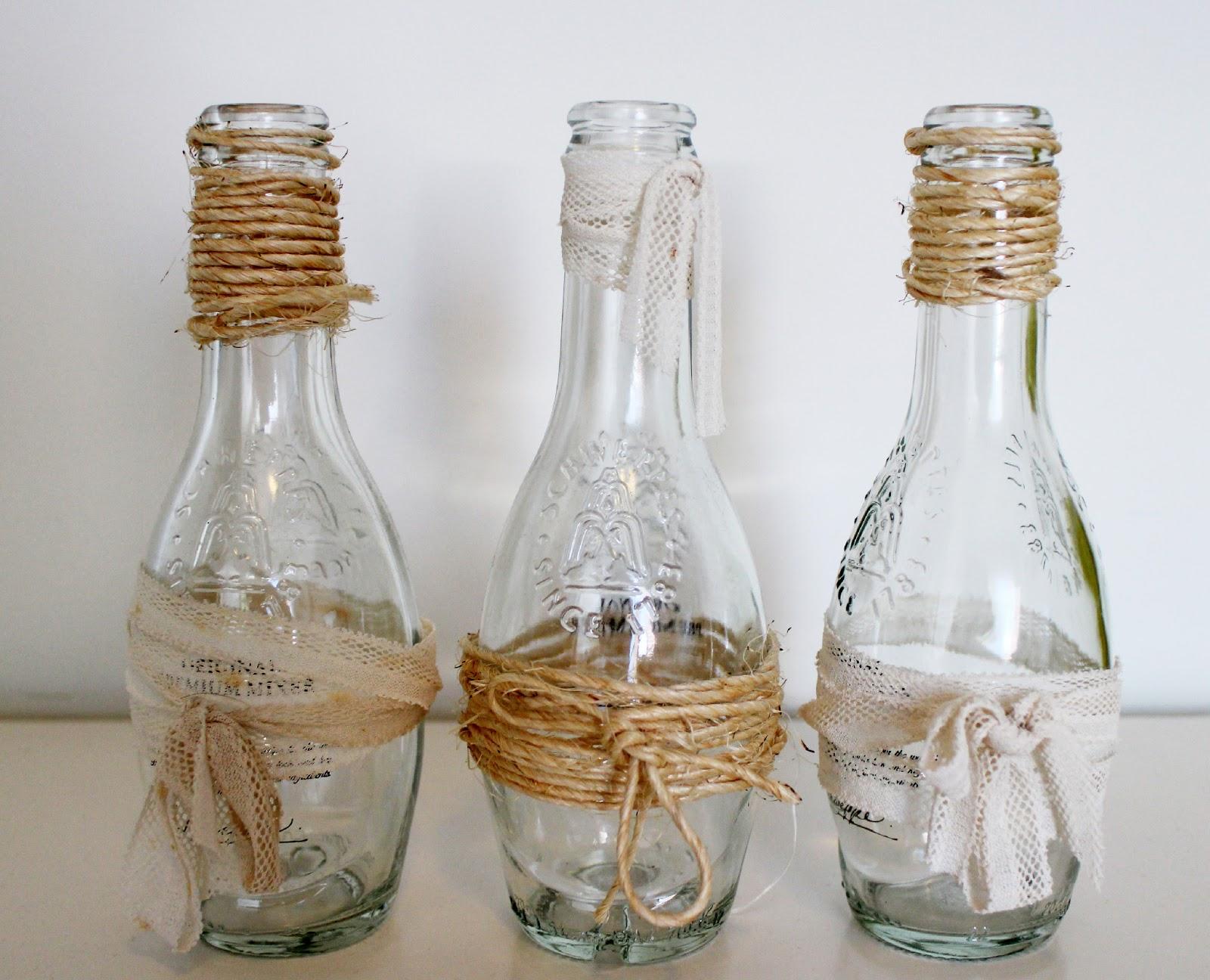 Decorar botella de cristal elegant botella decorada con - Decorar botellas de cristal ...