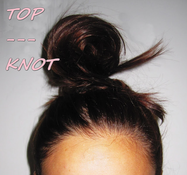 top knot moño alto peinado de moda