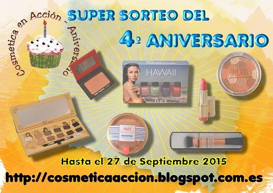 �Super SORTEO del 4� Aniversario del Blog ? gana un completo kit de productos de maquillaje!
