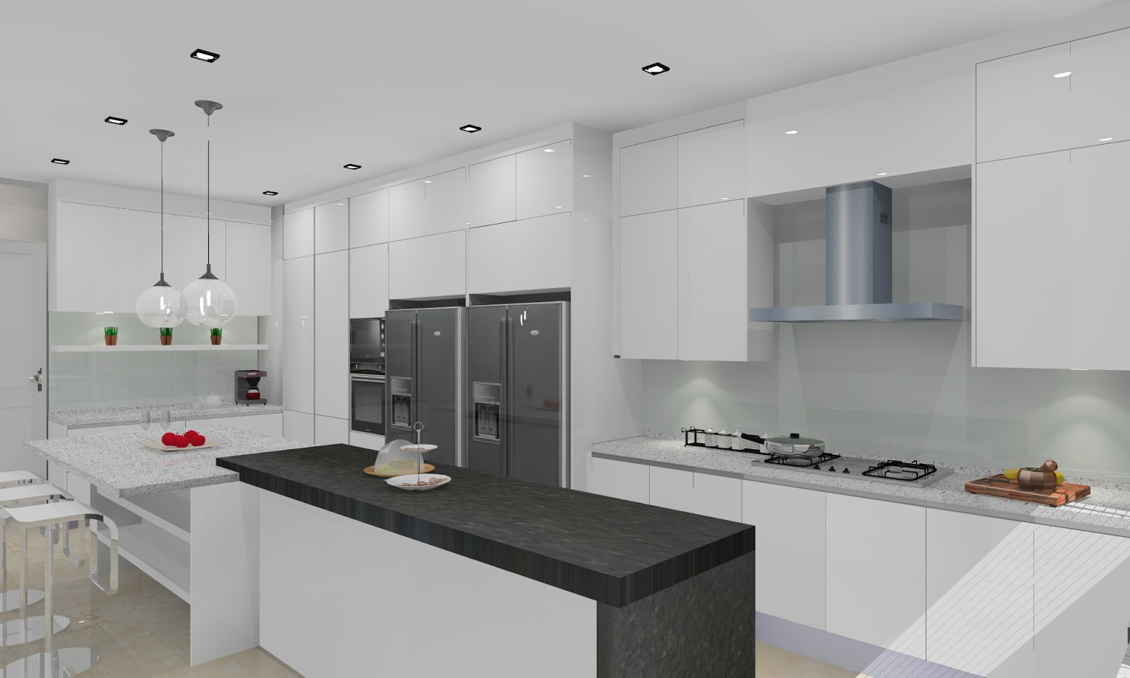 Meridian interior design and kitchen design in kuala for Full kitchen cabinets