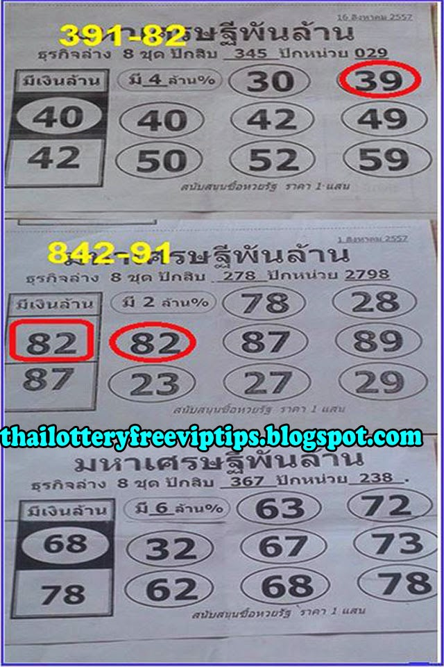 Thai lottery 3up sure Pair 01-09-2014