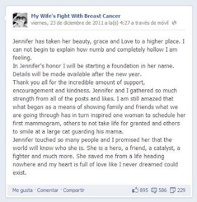 Post en Facebook de Angelo Merendino después de fallecida la protagonista