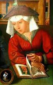 mujer medieval leyendo