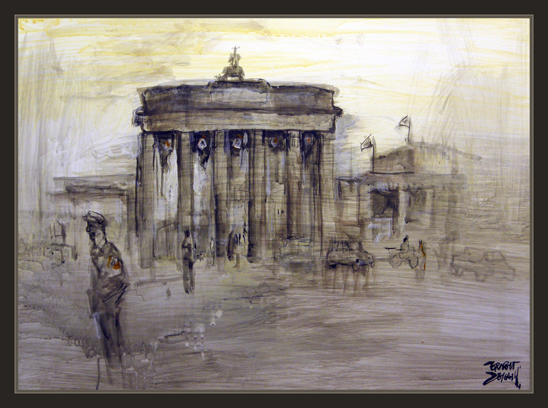 BRANDENBURGER TOR-BERLIN-ALEMANIA-GERMANY-WW2-ART-ARTE-PINTURA-PINTOR-ERNEST DESCALS-