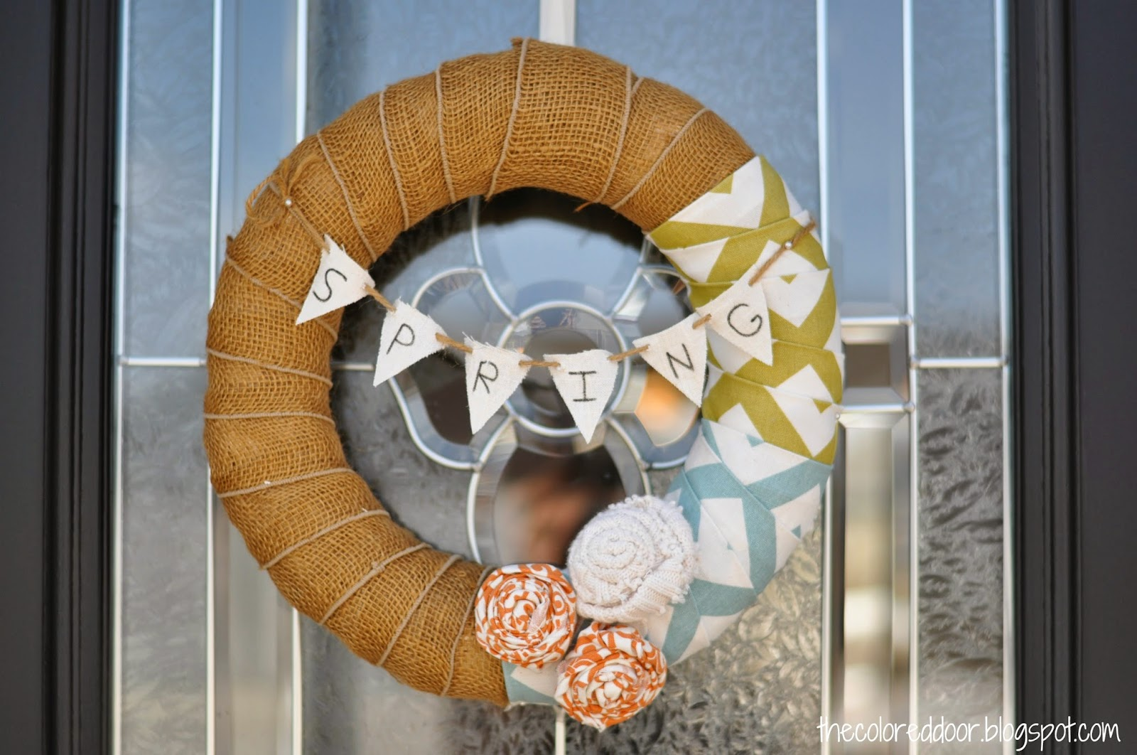 Burlap and Chevron Spring Wreath - 5 Ways to Decorate for Spring