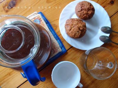 какао и мъфини с банан и орехи