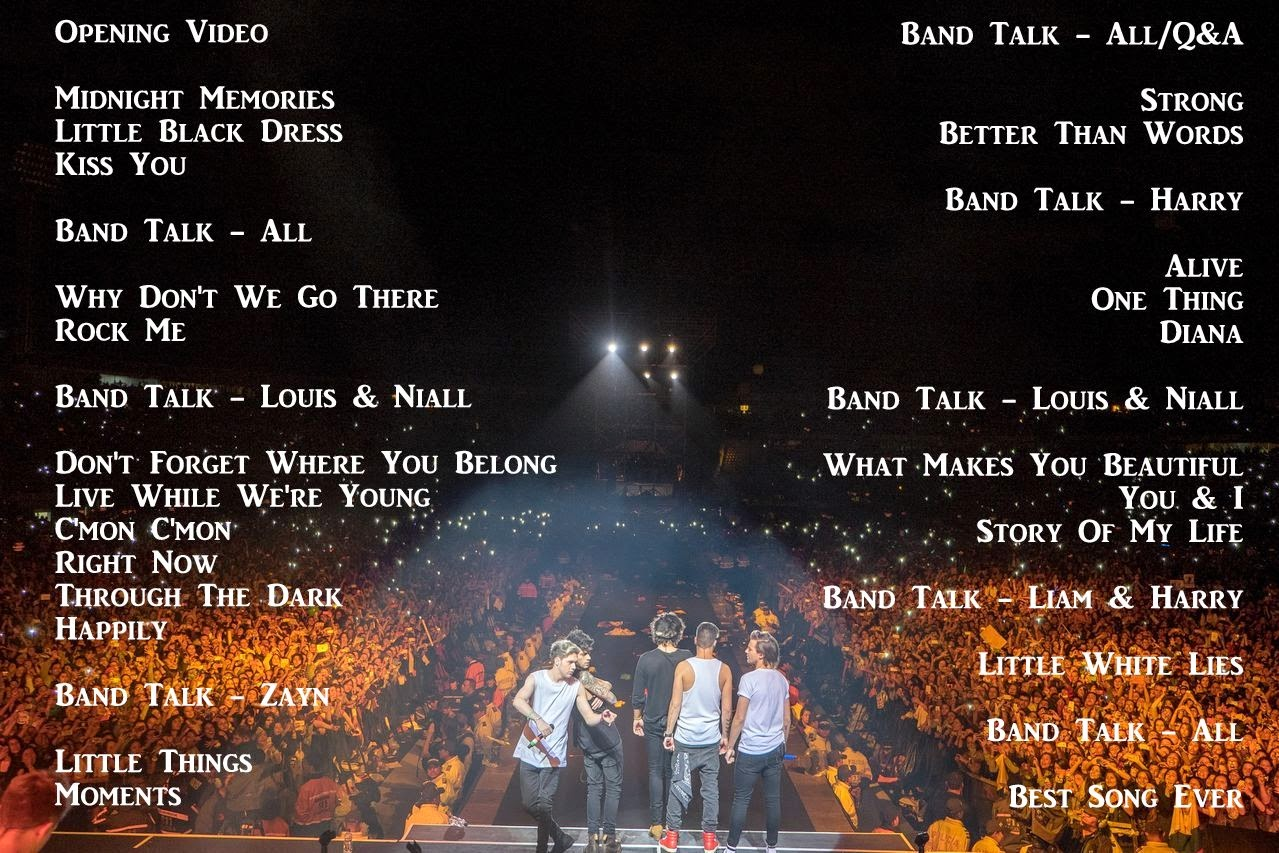 one direction, wwa tour, setlist, 1d, where we are stadium tour 2014,