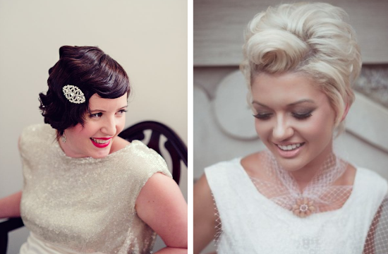bride with short hair, vintage brides, finger waves