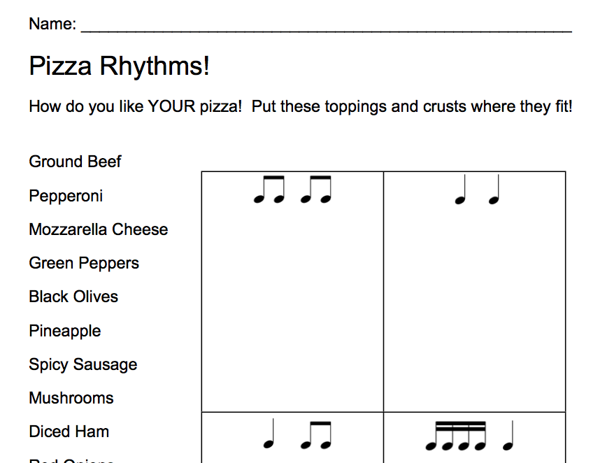 Musical Musings with Mrs Lukow Fun and Yummy – Rhythm Worksheet